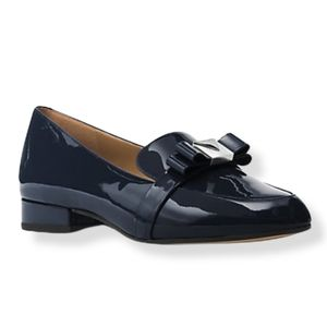 Michael Kors Blue Patent Leather Front Bow Loafer